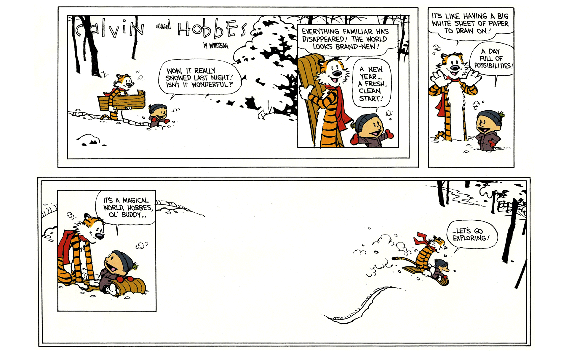 Calvin and Hobbes go exploring.